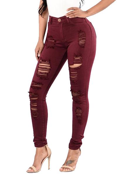 Euramerican High Waist Holes Design Red Cotton Jeans<br>
