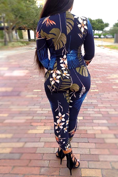 Stylish V Neck Long Sleeves Digital Printing Twilled Satin Two-piece Pants Set