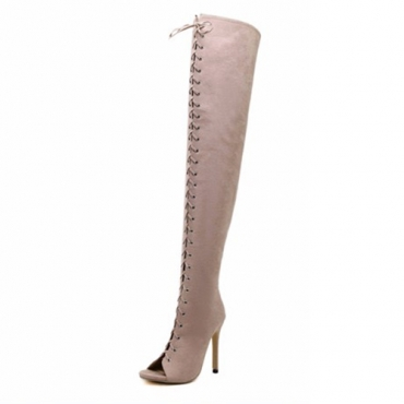 Trendy Ronda Peep Toe Lace-up Hollow-out Stiletto Super High Heel Albaricoque ante sobre las botas de rodilla