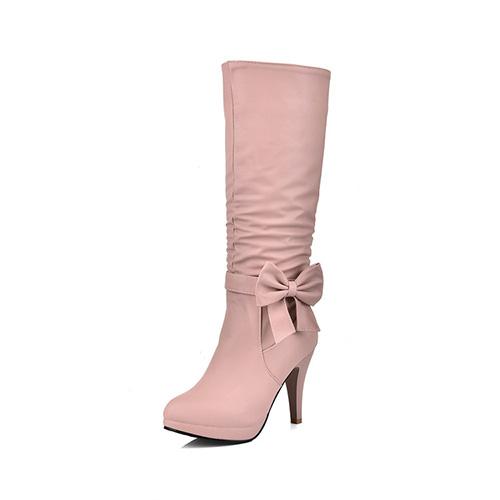 Stylish Round Toe Zipper Design+Bow Decorative Stiletto Super High Heel Pink PU Mid Calf Boots