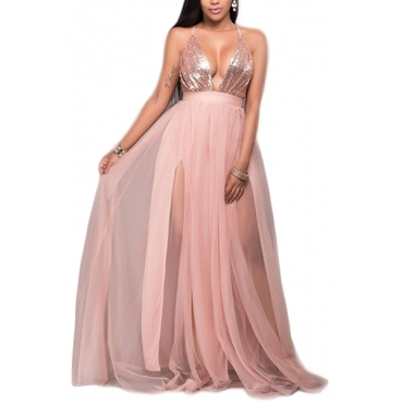 Sexy Deep V Neck Spaghetti Strap Sleeveless Gauze Patchwork+Sequined Decorative Pink Polyester Floor length Dress
