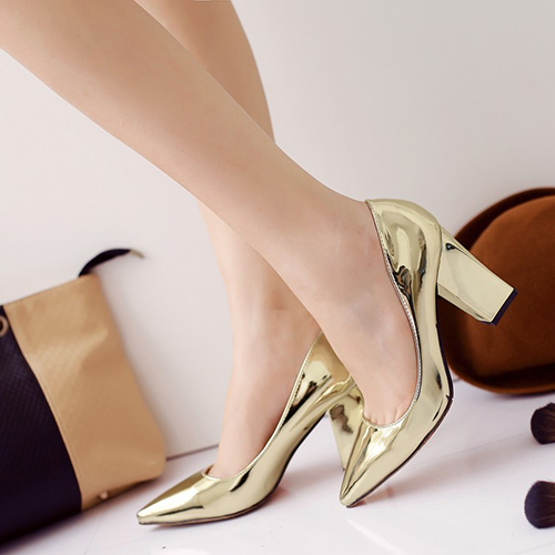 Moda Apontada Fechada Toe Shallow Boca Design Chunky High Heel Gold PU Basic Pumps