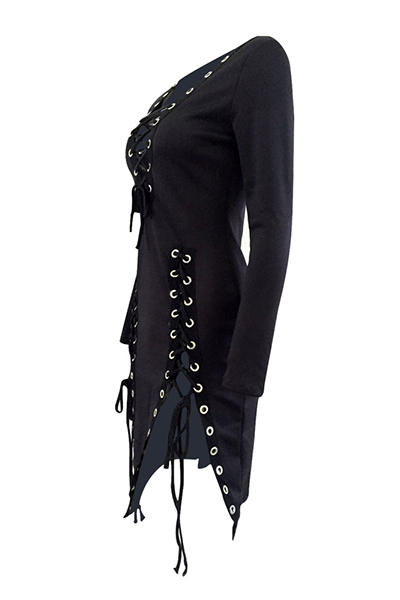 Sexy V Neck mangas compridas Lace-up Hollow-out preto tecido saudável vestido mini