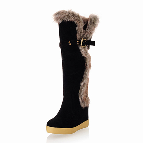 Winter Round Toe Patchwork Mid Heel Black Suede Mid Calf Feathers Snow Boots