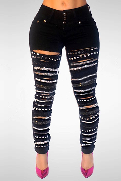 Stylish High Waist Sequined Decorative Black Denim Jeans