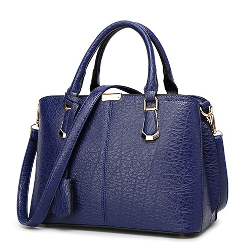 Fashion Zipper Design Blue PU Shoulder Bag