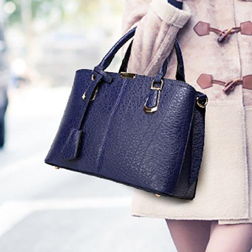 Fashion Zipper Design Blue PU Shoulder Bag