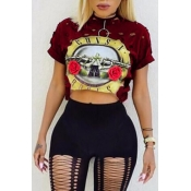 Leisure Round Neck Short Sleeves Printed Hollow-out Wine Red Polyester T-shirt