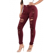 Euramerican High Waist Holes Design Red Cotton Jeans