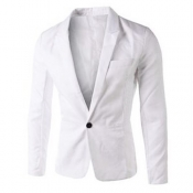 Stylish Turndown Collar Long Sleeves Single Button Design White Cotton Blends Business Suit
