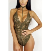 Sexy Halter V Neck Sleeveless See-Through Army Green Lace One-piece Skinny Jumpsuits