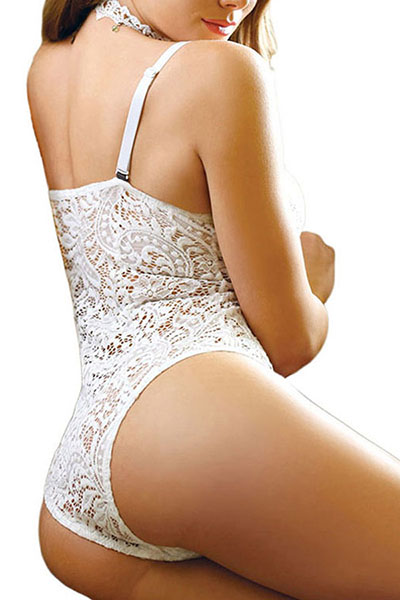 Sexy Spaghetti Strap Sleeveless Lace Patchwork White One-piece Jumpsuits