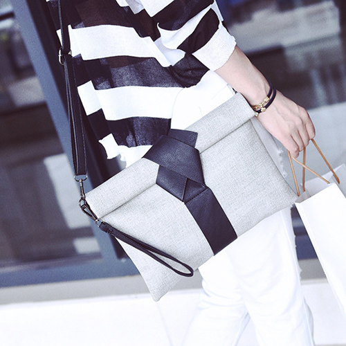 Contracted Style Magnetic Buckle Design Grey Polyester Clutches Bags