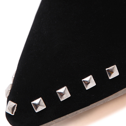 Trendy Pointed Closed Toe Rivet Decorative Stiletto Super High Heel Black Suede Short Rivets Boots