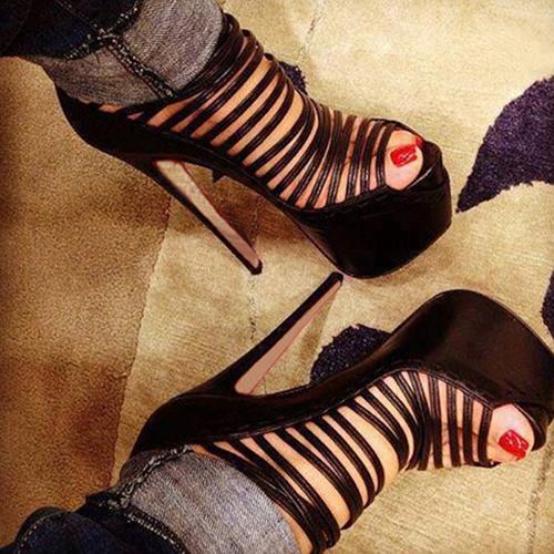 Elegante redondo peep toe hollow-out stiletto super alto talón PU gladiador bombas