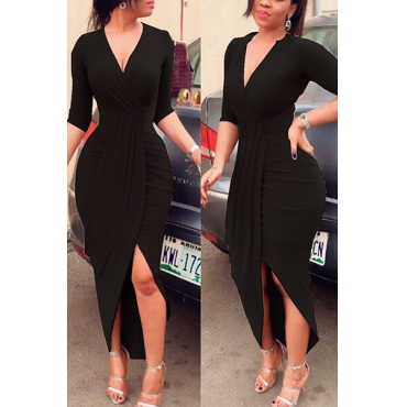 Sexy V Neck Half Sleeves Asymmetrical Black Polyester Sheath Mid Calf Dress