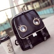 Casual Zipper Design Black PU Backpacks