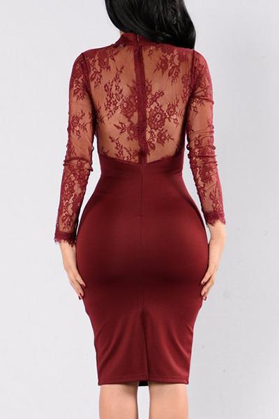 Healthy Fabric Sexy V Neck Long Sleeve Sheath Knee Length Dresses