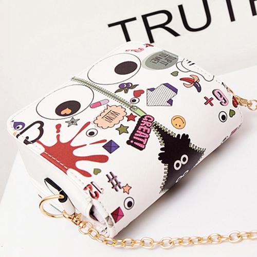 Moda Zipper Design Blanco PU Messenger