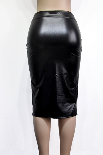Leather Solid Sheath Knee Length Skirts