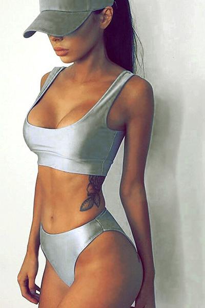 Sexy U-shaped Neck Sleeveless Silver Ployester Two-piece Swimwear
