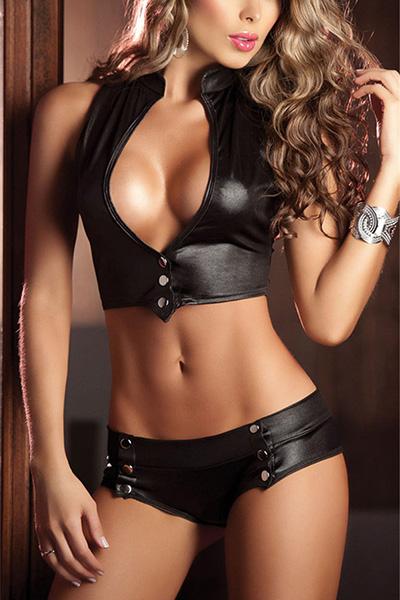 Sexy Deep V diseño del botón Negro Faux cuero dos-piece Cortos fijados