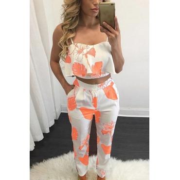 Orange Polyester Pants Print V Neck Sleeveless Fashion Two Pieces