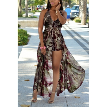 Chiffon Print Regular Jumpsuits