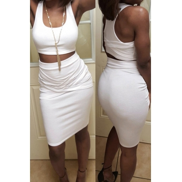 White Healthy Fabric Skirt Solid U Neck Sleeveless Casual Two Pieces