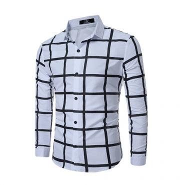 Mezclas de algodón de rebeca Turndown Collar manga larga Plaid hombres ropa