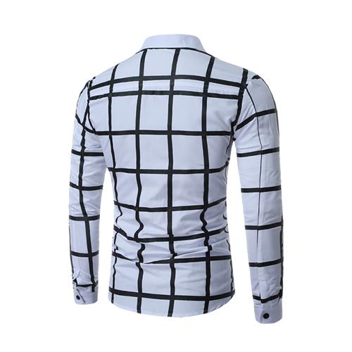 Cardigan Cotton Blends Turndown Collar Long Sleeve Plaid Men Clothes