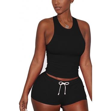 Negro Algodón Blend Shorts Solid U cuello sin mangas Casual dos piezas