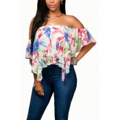 Sexy Bateau Neck Short Sleeves Printed Polyester S