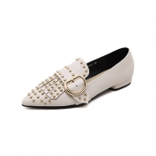Stylish Pointed Closed Toe Rivet Decoration Low He