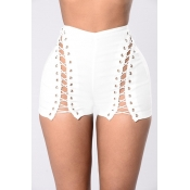 Sexy High Waist Hollow-out White Polyester Skinny Shorts