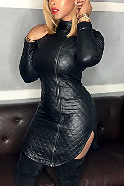 Trendy Turtleneck Long Sleeves Zipper Design Black Leather Mini Dress Dresses <br><br>