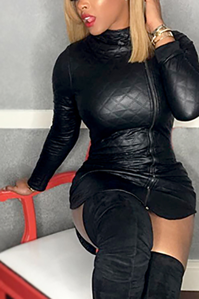 Vestido De Cuello Alto De Moda Con Cuello En V Manga Larga Mini Vestido De Cuero Negro