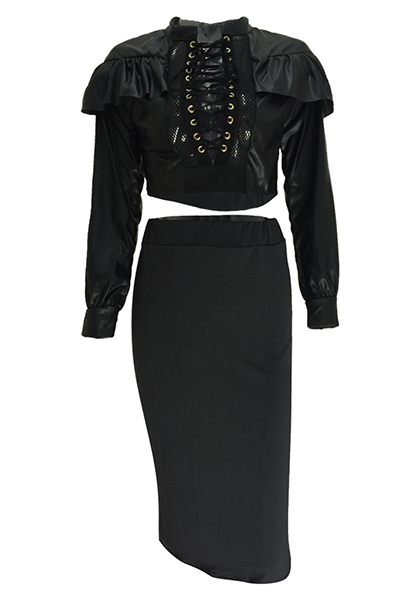 Sexy Mandarin Collar Long Sleeves Hollow-out Black Qmilch Two-piece Skirt Set