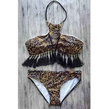 Sexy Tassel Design Brown Nylon Two-piece Swimwear