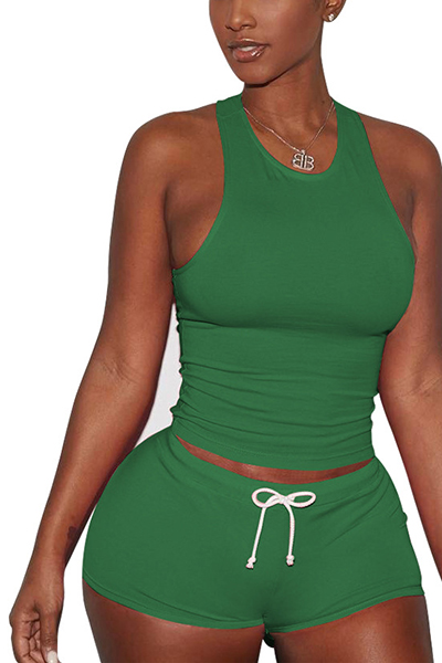 Green Cotton Blend Shorts Solid U Neck Sleeveless Casual Two Pieces