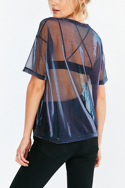 Пуловеры Nylon O Шея с коротким рукавом Твердые футболки