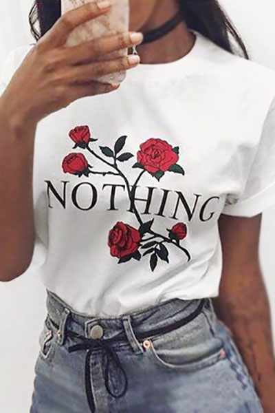 Pullovers Cotton O Neck Short Sleeve Floral T-shirt
