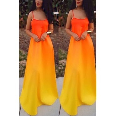 Charismatic U-shaped Neck Spaghetti Strap Sleeveless Printed Orange Polyester Floor Length Dress