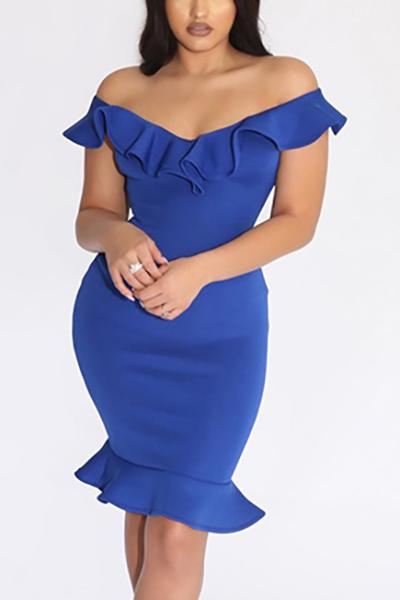 Charismatic V Neck Short Sleeves Falbala Design Blue Polyester Knee Length Dress