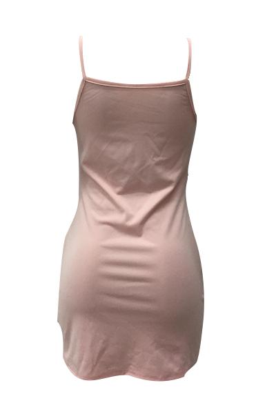 sexual espaguetis correa ver-Through rosa vestido de poliéster mini vestido (Sin Briefs)