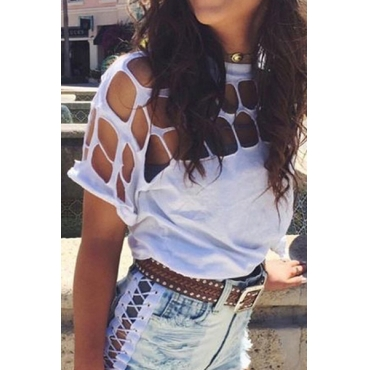 Trendy Round Neck Short Sleeves Hollow-out White Polyester T-shirt