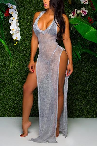 Lovely Sexy Deep V Neck Grey Beach Dress