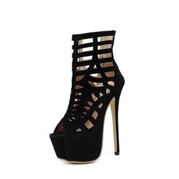 Stylish Round Peep Toe Stiletto Super High Heel Hollow-out Black Suede Gladiator Sandals