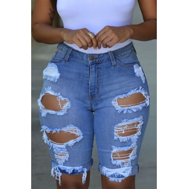 denim Solid Button Fly High Regular Capris Jeans