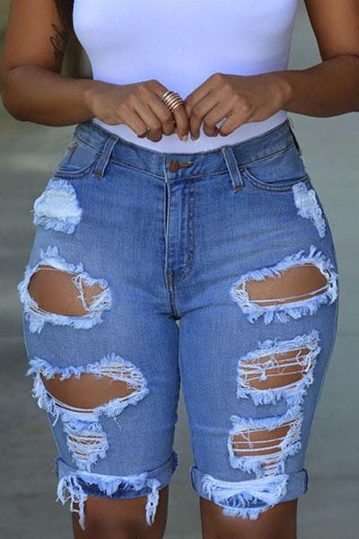 denim Solid Button Fly High Regular Capris Jeans